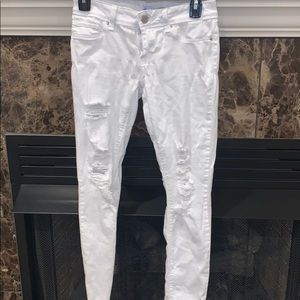 White Ripped Stretchy Jeggings
